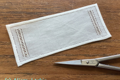 Whitework Table Runner showing scale, 2021
