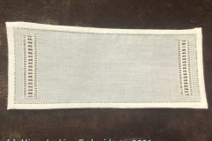 Small whitework Table Runner, close-up, 2021